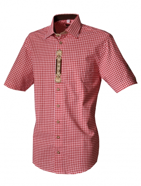 Trachtenhemd Deiningen rot Karo Kurzarm OS Trachten