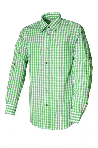 Trachtenhemd Altötting grün Krempelarm Fuchs