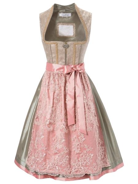 B-Ware / 2. Wahl - Dirndl midi 60 cm Marktoffingen grün rosa Mondkini