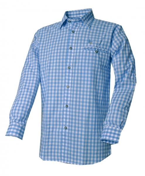Trachtenhemd Kemnath blau hellblau Karo Langarm Kitzo Alpen