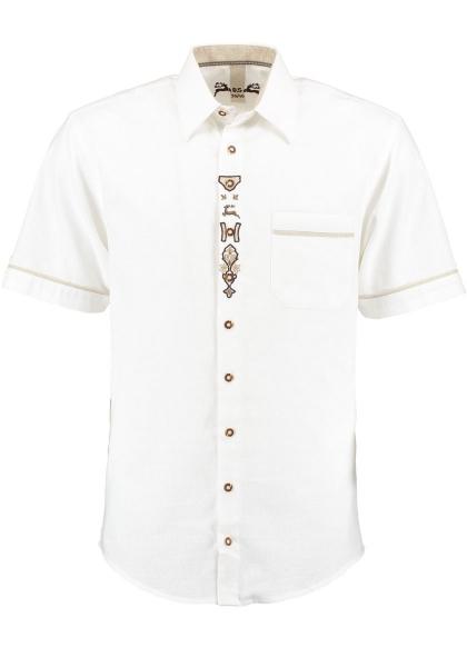 Trachtenhemd Rödelmaier weiß Kurzarm Stickerei OS-Trachten