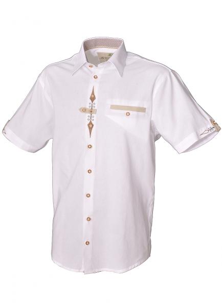 Trachtenhemd Zolling weiß Kurzarm Stickerei OS Trachten