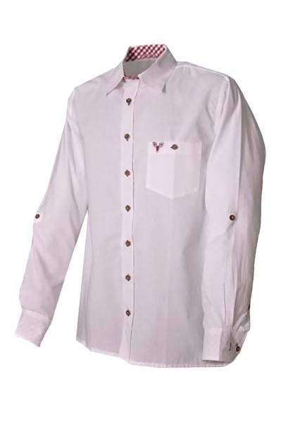 Trachtenhemd Klaus weiß/burgund Lekra