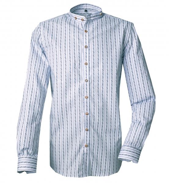 Trachtenhemd Waldstetten blau/jeans streifen Stehkragen Langarm Slim Fit OS Trachten