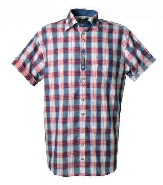 Trachtenhemd Spardorf rot blau Karo Kurzarm Regular Fit OS Trachten