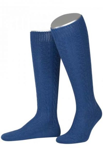 Trachtenkniestrumpf Socken blau Zopfmuster