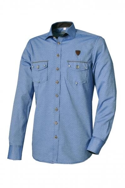 Trachtenhemd Neudrossenfeld blau Langarm Slim Fit OS-Trachten