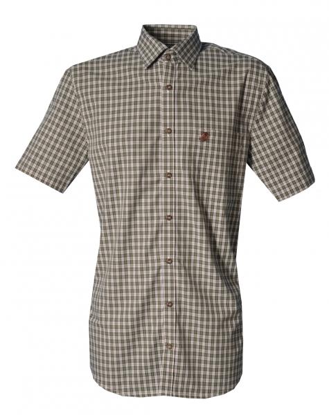 Trachtenhemd Erling oliv grün Karo Kurzarm Regular Fit OS Trachten
