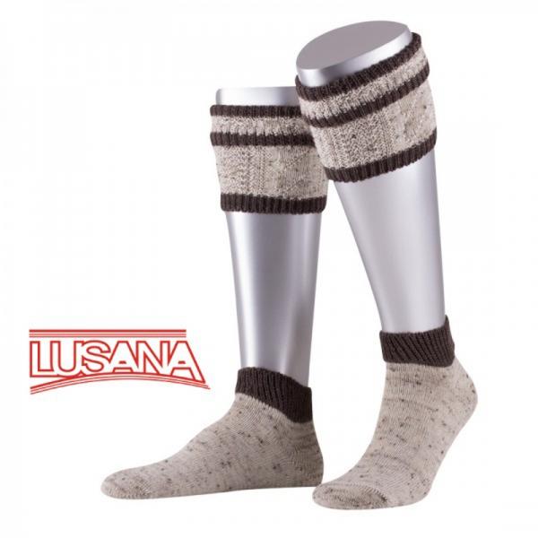 Trachten Kurz-Loferl Set-2tlg. Wadenwärmer Socken Loden-Tweed beigemeliert/braun Lusana