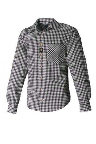 Trachtenhemd Ferdi dunkelgrün Karo Langarm OS-Trachten