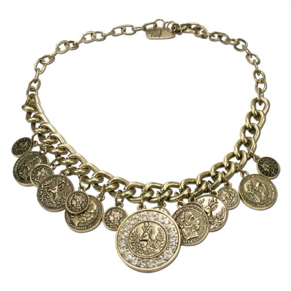 Trachtenkette Münzen Glitzerhirsch altgold-farben Alpenflüstern