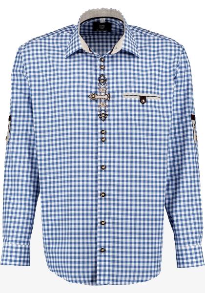 Trachtenhemd Schöfweg blau Karo Krempelarm OS Trachten