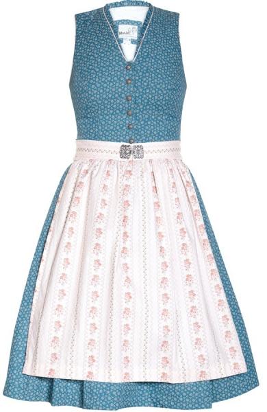 Dirndl midi 58 cm Dalena blau rosa Marjo