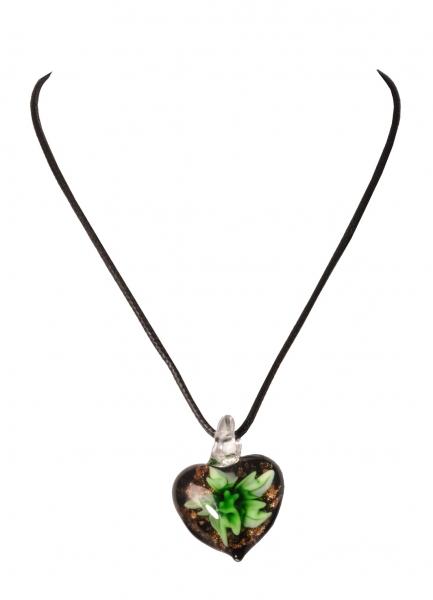 Dirndlkette Trachtenkette Treffelstein herzförmig Kunstglas grün