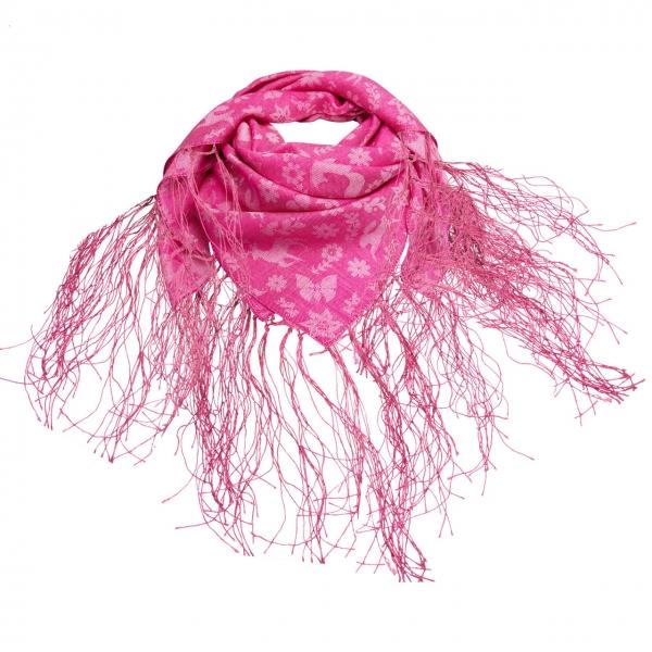 Trachtentuch Fransen-Jaquardtuch Tanzende Tiere pink Alpenflüstern