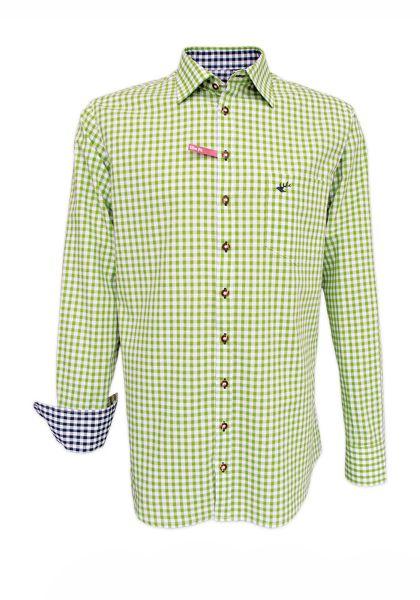 Trachtenhemd John giftgrün Karo OS Trachten