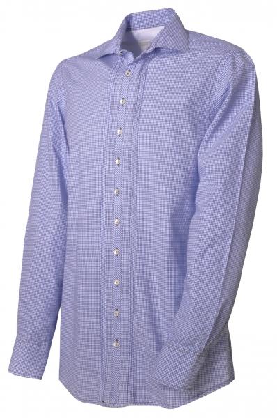 Trachtenhemd Mistelbach kornblau/weiß kariert Langarm Slim Fit OS Trachten