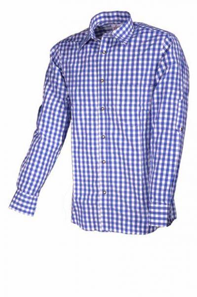 Trachtenhemd Altötting blau Krempelarm Fuchs